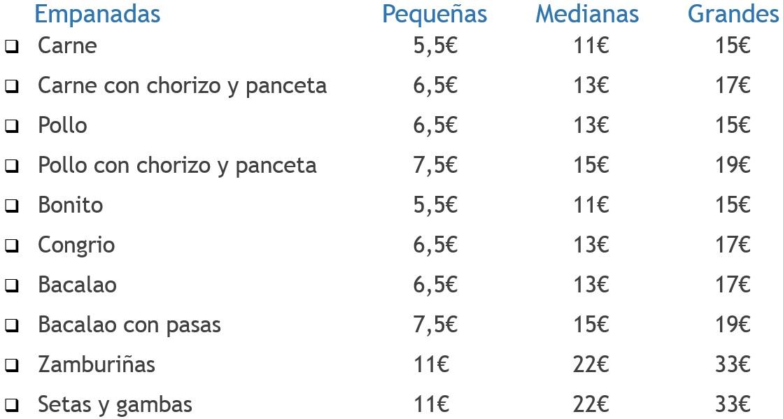 Listado de precios empanadas